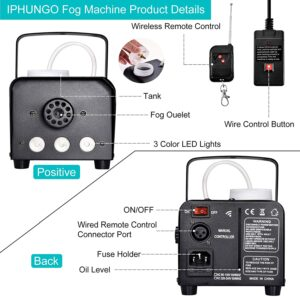 IPHUNGO Fog Machine with Controllable Lights